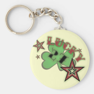 lucky 27 basic round button key ring