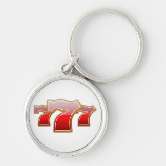 Lucky 7 Silver-Colored round key ring