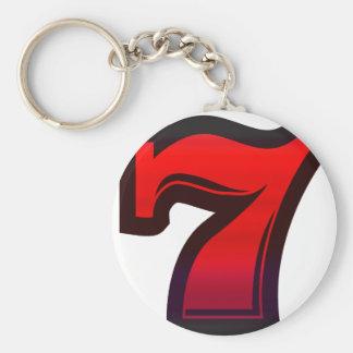 Lucky 7s basic round button key ring