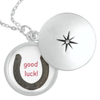 Lucky Antique Horseshoe Round Locket Necklace