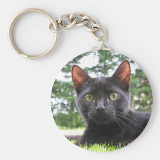 Lucky Black Cat Basic Round Button Key Ring