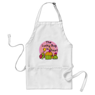 Lucky Bug Cupcake 4th Birthday T-shirts and Gifts Standard Apron