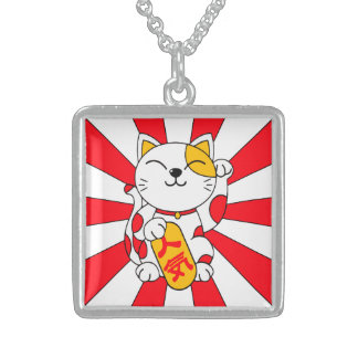 Lucky Cat (A) Square Pendant Necklace