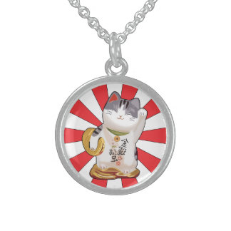 Lucky Cat B Round Pendant Necklace