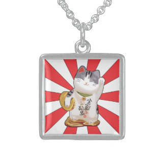 Lucky Cat B Square Pendant Necklace