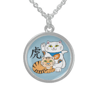Lucky Cat Year of the Tiger Round Pendant Necklace