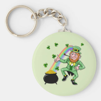 Lucky Leprechaun Basic Round Button Key Ring