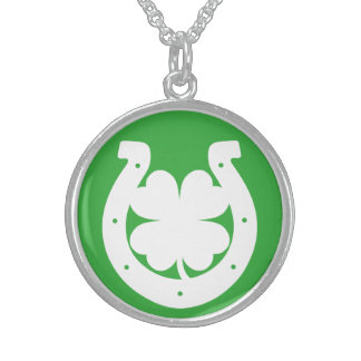 Lucky St Patricks Day Round Pendant Necklace