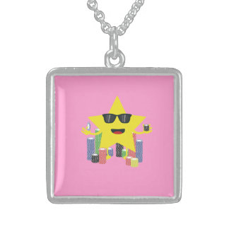 lucky star with poker chips square pendant necklace