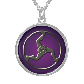 Lucky Triskelion with Pentacle Round Pendant Necklace