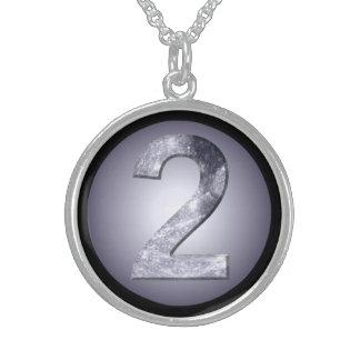 Lucky Two Lunar Design Black Border Necklace