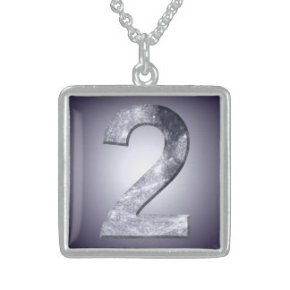 Lucky Two Lunar Symbol Mystic Number Square Pendant Necklace