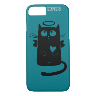 Luner iPhone 7, Barely There Cat Black design iPhone 7 Case