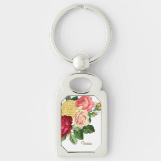 Lush Vintage Floral ID225 Silver-Colored Rectangle Key Ring