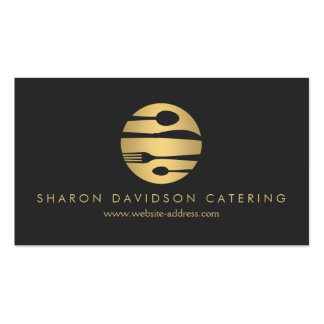 Luxe Gold and Black Catering, Restaurant, Chef Pack Of Standard Business Cards