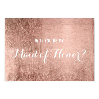 Luxury faux rose gold leaf be my maid of honor 9 cm x 13 cm invitation card