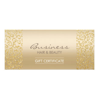 Luxury Gold Leopard Print Salon Gift Certificates Rack Card Design