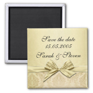 Luxury Gold Ribbon Damask Save the date Square Magnet