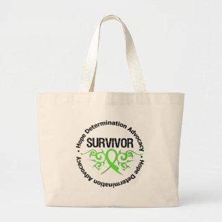 Lyme Disease Survivor Tribal Ribbon Jumbo Tote Bag