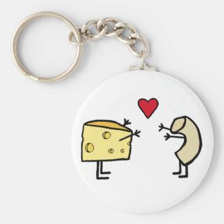 Macaroni and Cheese Basic Round Button Key Ring
