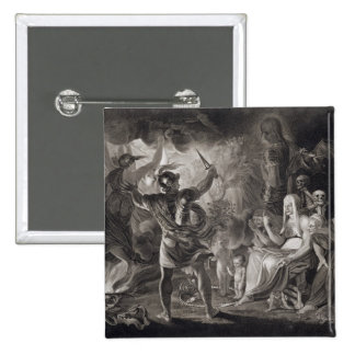 Macbeth, the Three Witches and Hecate in Act IV, S 15 Cm Square Badge