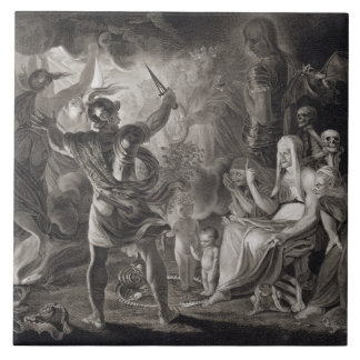Macbeth, the Three Witches and Hecate in Act IV, S Large Square Tile