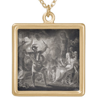 Macbeth, the Three Witches and Hecate in Act IV, S Square Pendant Necklace