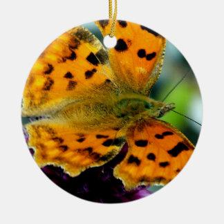 Macro Yellow Butterfly Round Ceramic Decoration