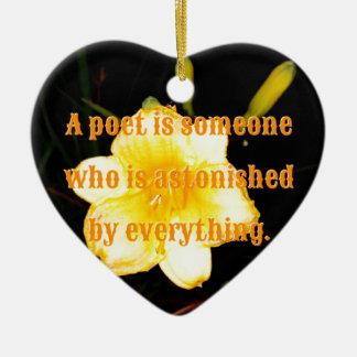 Macro Yellow Daylily Night Photography Poet Quote Ceramic Heart Decoration