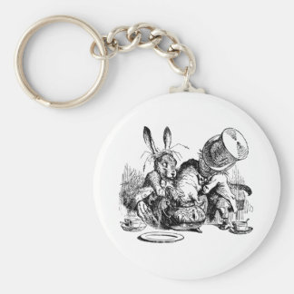 Mad Hatter and March Hare dunking the Dormouse Basic Round Button Key Ring