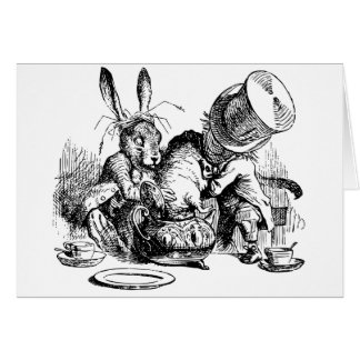 Mad Hatter and March Hare dunking the Dormouse Greeting Card