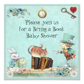 Mad Hatter & Cheshire Cat Bring a Book Shower 13 Cm X 13 Cm Square Invitation Card