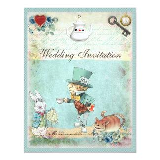 Mad Hatter Wonderland Wedding 11 Cm X 14 Cm Invitation Card