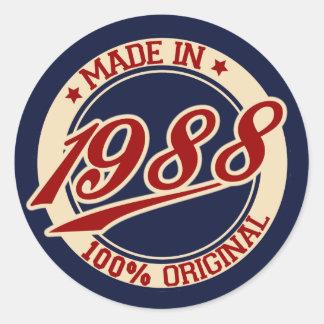Made In 1988 Round Sticker