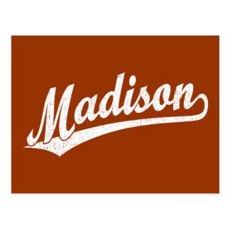 Madison script logo in white distressed postcard