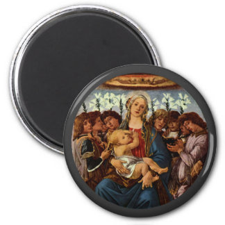 Madonna and Child with Eight Angels by Botticelli 6 Cm Round Magnet