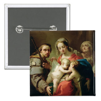 Madonna and Child with Saints John, Anna and Rocco 15 Cm Square Badge