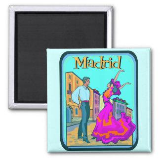 Madrid Travel Poster Square Magnet