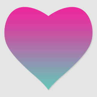 Magenta Purple & Teal Ombre Heart Sticker