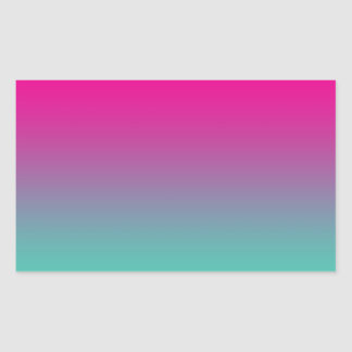 Magenta Purple & Teal Ombre Rectangular Sticker