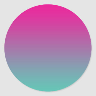 Magenta Purple & Teal Ombre Round Sticker