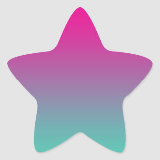 Magenta Purple & Teal Ombre Star Sticker
