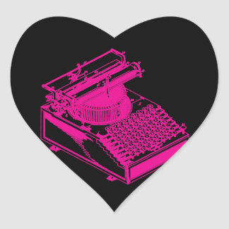 Magenta Type Writing Machine Heart Sticker