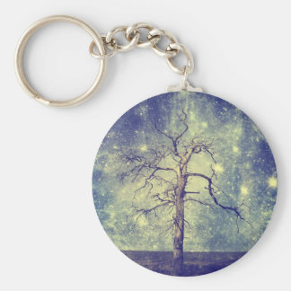 Magical Tree of The Universe Basic Round Button Key Ring