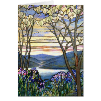 Magnolia and Iris Tiffany Stained Glass Window Greeting Card