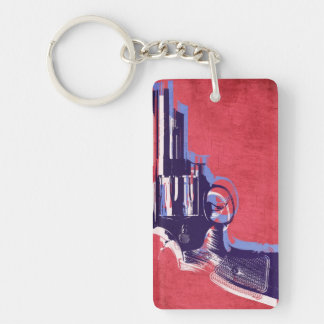 Magnum Revolver on Red Double-Sided Rectangular Acrylic Key Ring