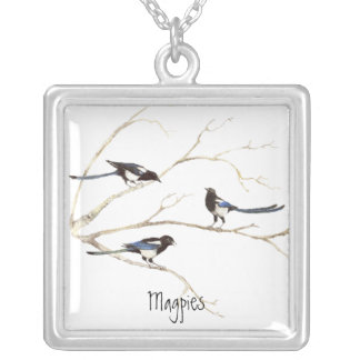 Magpie Family to Customize, Bird Collection Square Pendant Necklace