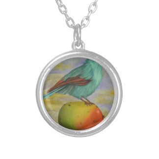 Magpie On A Mango Round Pendant Necklace