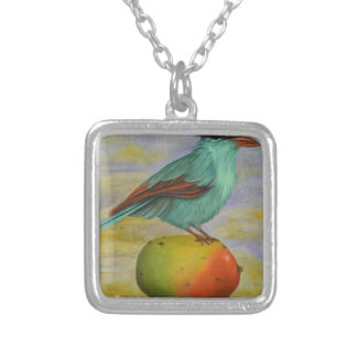 Magpie On A Mango Square Pendant Necklace
