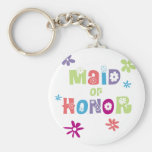 Maid of Honour Favours Basic Round Button Key Ring